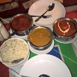 chicken, prawns, paneer - each in different sauce and plenty of rice