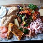 Seafood board with lemon mayonnaise