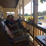 Relaxing on the front porch.