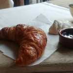Warm breakfast croissant, straight from oven