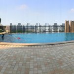 Panoramic view of the pool deck.