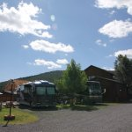 RV sites, main building, and new clubhouse construction.