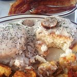 Fluffy Biscuits, Creamy Gravy, Crispy Home fries & Bacon