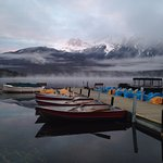 Sunrise by the Pyramid Lake just in front of the hotel