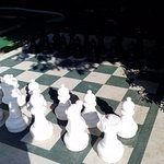 Oversized chess pieces outdoors