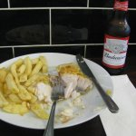 Cod and chips. And Bud !