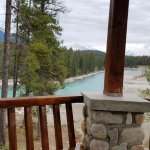 View of the Athabasca River from the gazebo outside our cabin.