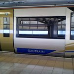 Gautrain parked at OR Tambo International Airport.