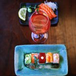 OSushi's delicious Rainbow Roll with Salmon Sashimi