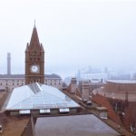 Shot in the early 80's. The clock tower from the bell tower. Pretty much the same.