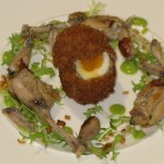Frog's leg 'soldiers' with reconstructed egg.