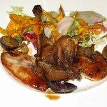 Partridge with grapes and girolle salad