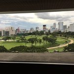 Anantara Siam Bangkok pool, breakfast area, view from room on L6 and Kasara Lounge