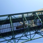 View of transit from below the Mackinac Bridge from Ugly Annie