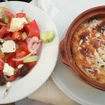 greek salad and greek musaka