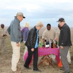 Guests and traveling companions enjoying the sundowner
