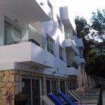 El Pinar Aparthotel - rear old building pool side rooms - Sept 2017