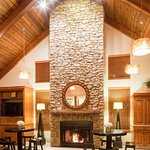 Welcoming lobby area with fireplace for your comfort