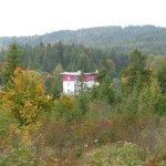 Das Hotel vom Wald aus gesehen