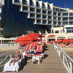 From the pontoon showing the hotel and beach restaurant and breakfast terrace