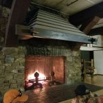 Large fireplace in atrium area