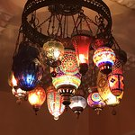 Colorful chandeliers throughout Orontes West