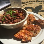 Red beans and rice with blackened chicken