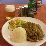 My Chicken Yassa with a Jubrew beer.