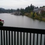 overcast oregon evening; still a nice view of the water from deck