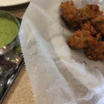 Vegetable fritters with 2 dips