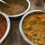 Vegetable korma, daal, fish vindaloo