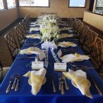 A table for 20. (We provided our own taffeta tablecloths & linen napkins.)
