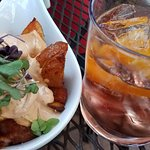 Papas bravas, rose sangria (forget the name)