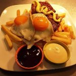 try our special steak egss and chips