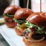 Sliders your choice of Beef, Ahi Tuna, Grilled Veggie, Fried Chicken, or Braised Beef