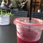 My beet juice drink, with live musician in the background.