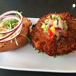 The delicious coconut burger.