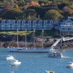 View of Bar Harbor Inn and boats from Bar Island