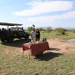 Typical breakfast during morning bush drive, enjoyed the varied landscapes of Naboisho