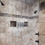 Large double shower in the Cedar, Walnut and Hickory cottages