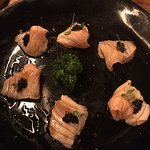 Sashimi de salmão, azeite trufado
