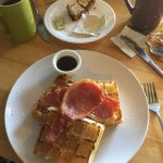 Best waffle I've ever eaten.  Hands down, no foolin'!  Wife had Irish breakfast which was wonder
