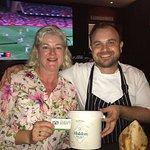 Head Chef, Brandon Tomkinson, with satisfied customer. Maldon Salt on the table too!