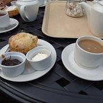 Gloriette Tea.Cheese Scone,Cream Cheese,Red Onion Marmalade & Tea