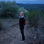 Heading out on the trail to dinner in Volpaia