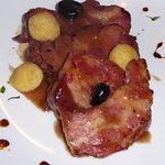 Pork dish w/plate art