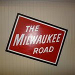 Sign for the old Milwaukee Road which helped make this town