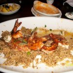 redfish ponchartrain with dirty rice, shrimp and crab meat