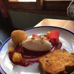A goat cheese salad and the soda bread