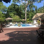 The perfectly quiet pool area, perfect after a hot morning climbing temples
